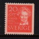 Sellos: SUECIA 347A** - AÑO 1949 - CENTENARIO DEL NACIMIENTO DEL ESCRITOR AUGUSTE STRINDBERG. Lote 168834056