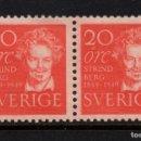 Sellos: SUECIA 347AB** - AÑO 1949 - CENTENARIO DEL NACIMIENTO DEL ESCRITOR AUGUSTE STRINDBERG. Lote 168834152