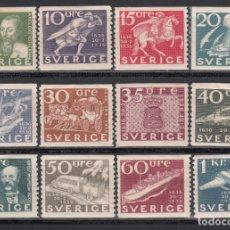 Sellos: SUECIA, 1936 YVERT Nº 235 / 246 /*/. Lote 172730642