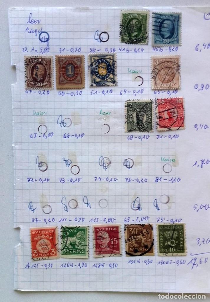 Sellos: Suecia 4 páginas de álbum de sellos antiguos, las de la imágenes, 57 sellos, Sverige - Foto 2 - 177308533