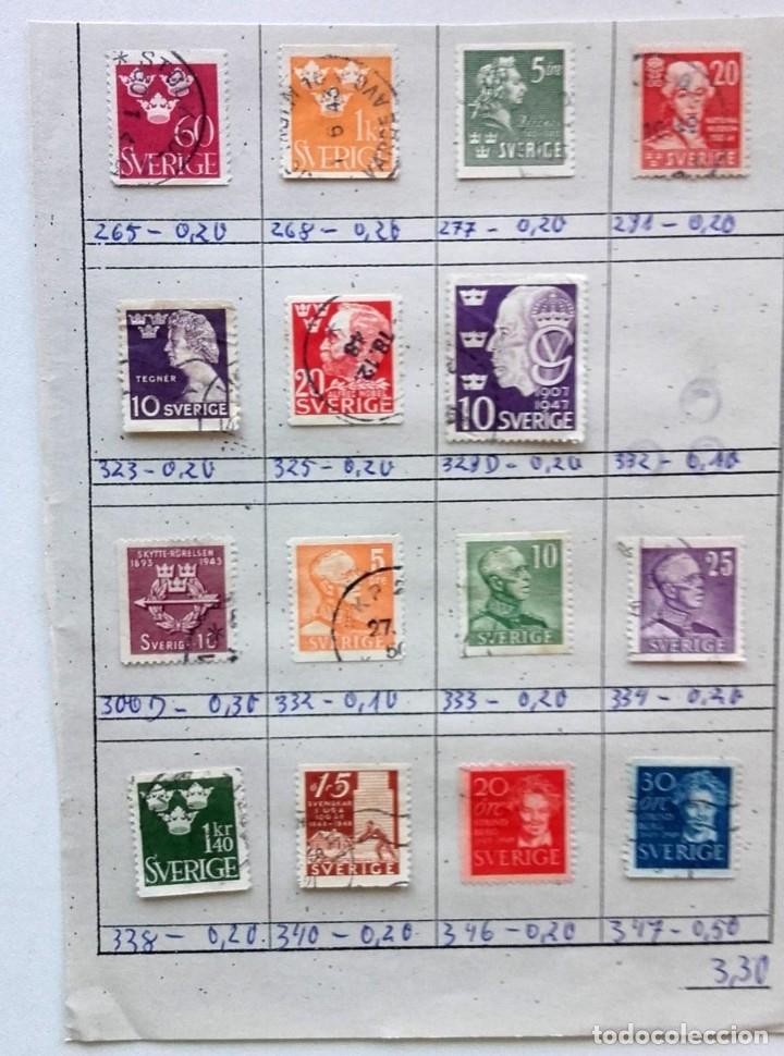 Sellos: Suecia 4 páginas de álbum de sellos antiguos, las de la imágenes, 57 sellos, Sverige - Foto 4 - 177308533