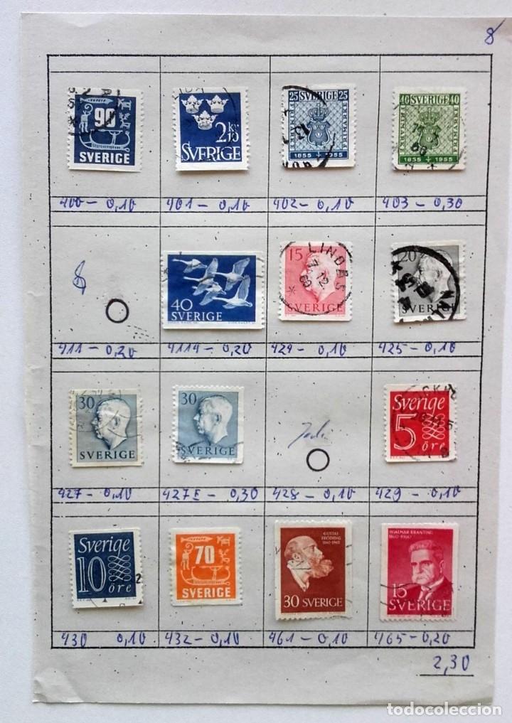 Sellos: Suecia 4 páginas de álbum de sellos antiguos, las de la imágenes, 57 sellos, Sverige - Foto 5 - 177308533
