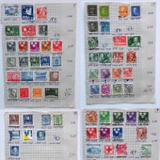 Sellos: SUECIA 4 PÁGINAS DE ÁLBUM DE SELLOS ANTIGUOS, VER IMÁGENES, 81 SELLOS, SVERIGE. Lote 177310060