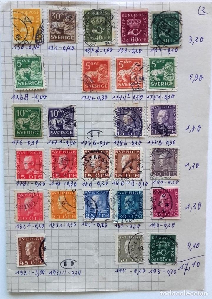 Sellos: Suecia 4 páginas de álbum de sellos antiguos, ver imágenes, 110 sellos, Sverige - Foto 3 - 177310440