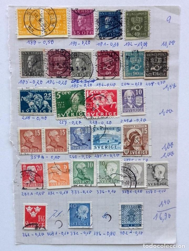 Sellos: Suecia 4 páginas de álbum de sellos antiguos, ver imágenes, 110 sellos, Sverige - Foto 4 - 177310440
