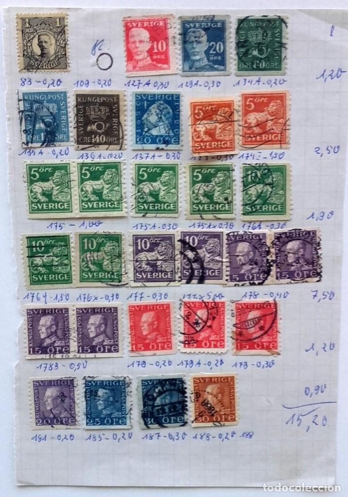 Sellos: Suecia 4 páginas de álbum de sellos antiguos, ver imágenes, 110 sellos, Sverige - Foto 5 - 177310440