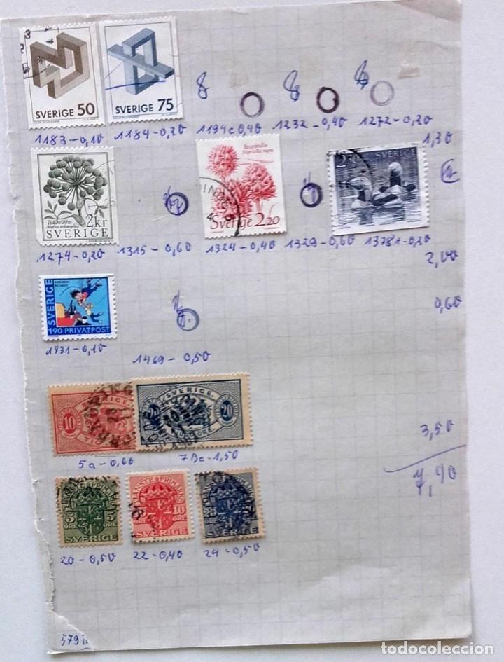 Sellos: Suecia 8 páginas de álbum de sellos antiguos, las de la imágenes, 71 sellos, Sverige - Foto 7 - 177311113