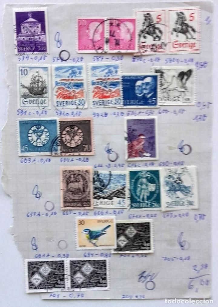 Sellos: Suecia 8 páginas de álbum de sellos antiguos, las de la imágenes, 71 sellos, Sverige - Foto 9 - 177311113