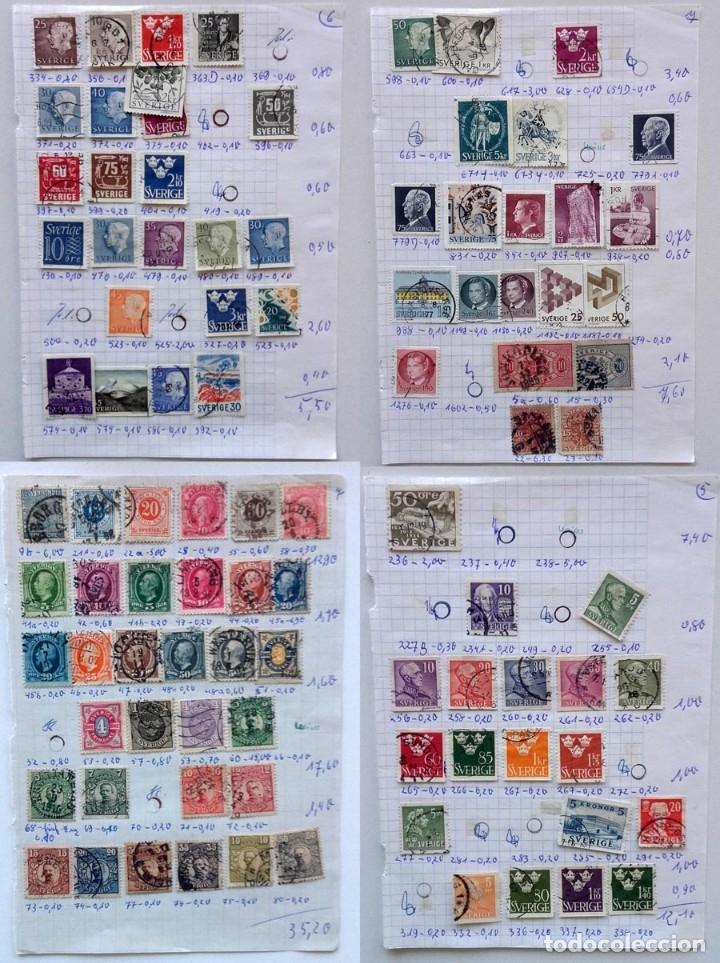 SUECIA 4 PÁGINAS DE ÁLBUM DE SELLOS ANTIGUOS, VER IMÁGENES, 96 SELLOS, SVERIGE (Sellos - Extranjero - Europa - Suecia)