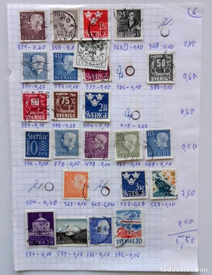 Sellos: Suecia 4 páginas de álbum de sellos antiguos, ver imágenes, 96 sellos, Sverige - Foto 2 - 177311862