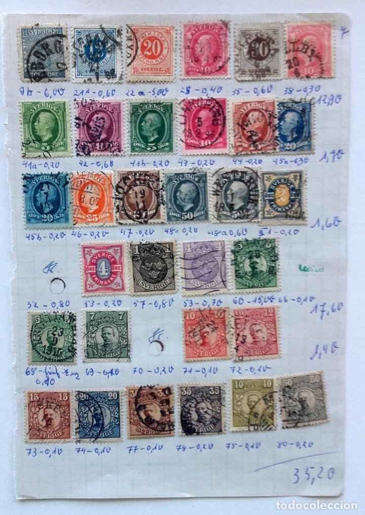 Sellos: Suecia 4 páginas de álbum de sellos antiguos, ver imágenes, 96 sellos, Sverige - Foto 4 - 177311862