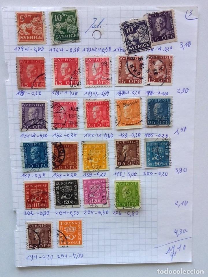 Sellos: Suecia 9 páginas de álbum de sellos antiguos, las de la imágenes, 105 sellos, Sverige - Foto 2 - 177313015
