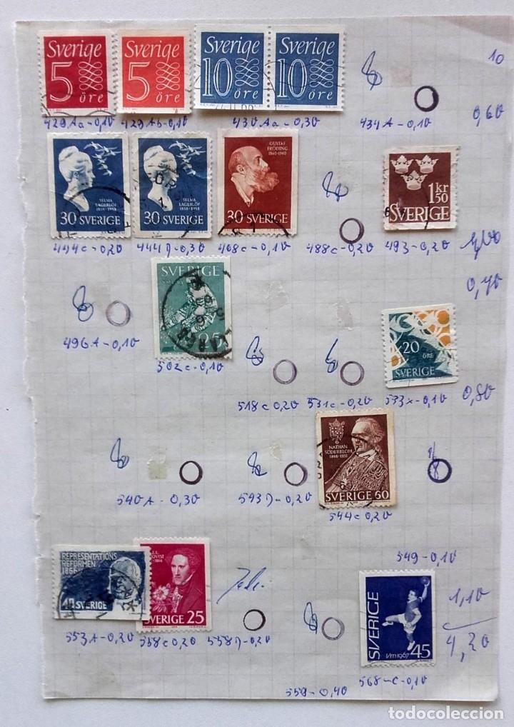 Sellos: Suecia 9 páginas de álbum de sellos antiguos, las de la imágenes, 105 sellos, Sverige - Foto 5 - 177313015