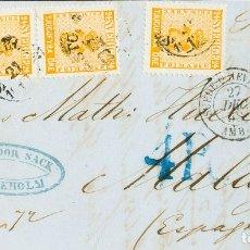 Sellos: SUECIA. SOBRE YV 9(3). 1858. 24 ORE NARANJA, TRES SELLOS. FRONTAL DE ESTOCOLMO A MALAGA (CIRCULADA. Lote 183131562