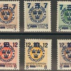Sellos: SUECIA. MH *YV 112/21. 1918. SERIE COMPLETA. MAGNIFICA. YVERT 2013: 45 EUROS. REF: 51743. Lote 183132860