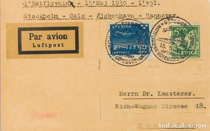 SUECIA. SOBRE YV 155B, AÉREO 4. 1930. 5 ORE VERDE Y 10 ORE AZUL. TARJETA POSTAL DE GOTEBORG A HANNO (Sellos - Extranjero - Europa - Suecia)