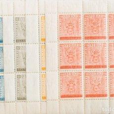Sellos: SUECIA. MNH **YV 399/03(9). 1955. SERIE COMPLETA, EN MINIHOJAS DE NUEVE SELLOS. MAGNIFICA. YVERT 20. Lote 183138197