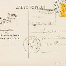 Sellos: SUECIA. SOBRE YV 137. 1925. 35 ORE AMARILLO. TARJETA POSTAL DE LA F.A.R. DE MALMO A LE BORGET (FRAN. Lote 183138397