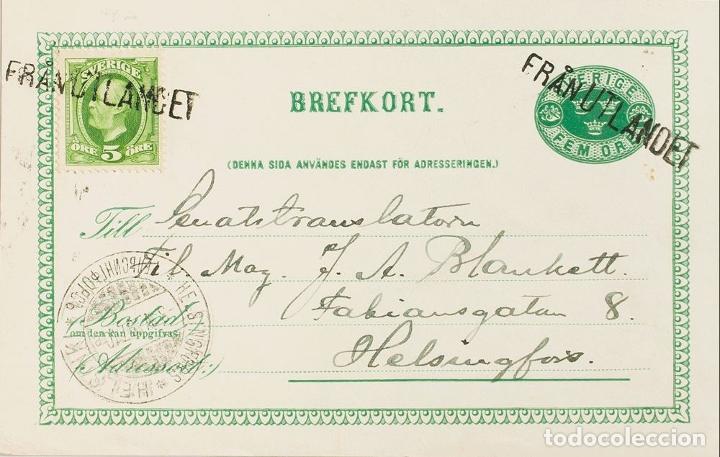 SUECIA, ENTERO POSTAL. SOBRE YV 41. 1897. 5 ORE VERDE SOBRE TARJETA ENTERO POSTAL DE ESTOCOLMO A HE (Sellos - Extranjero - Europa - Suecia)