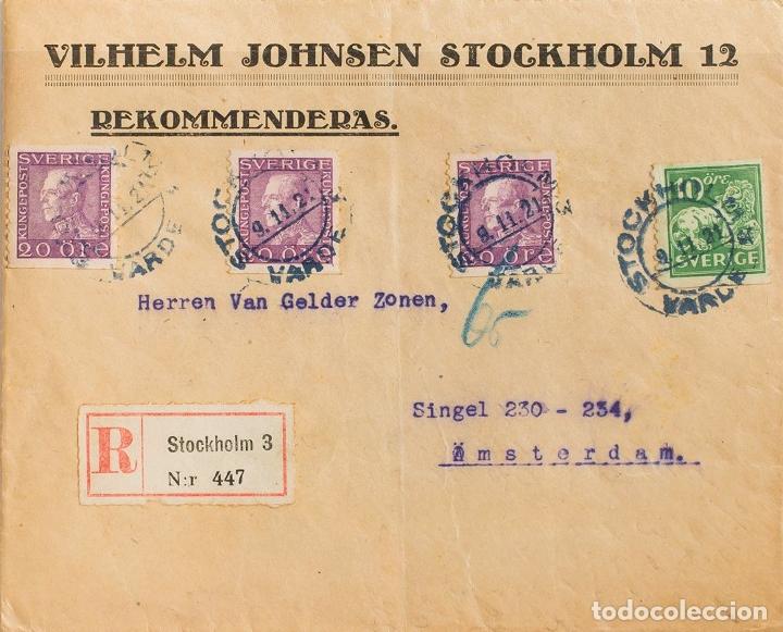 SUECIA. SOBRE YV 126, 131(3). 1921. 10 ORE VERDE Y 20 ORE VIOLETA, TRES SELLOS. CERTIFICADO DE ESTO (Sellos - Extranjero - Europa - Suecia)