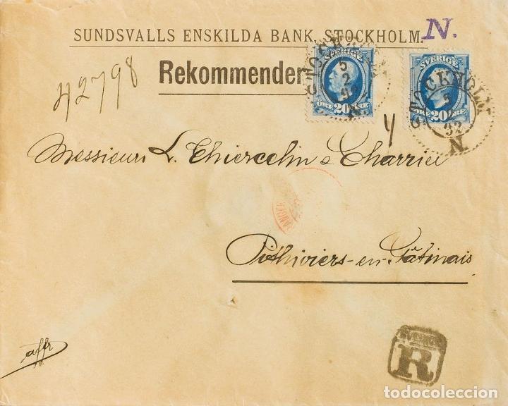 SUECIA. SOBRE YV 45(2). 1892. 20 ORE AZUL, DOS SELLOS. CERTIFICADO DE ESTOCOLMO A PITHIVIERS (FRANC (Sellos - Extranjero - Europa - Suecia)