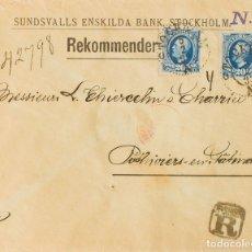 Sellos: SUECIA. SOBRE YV 45(2). 1892. 20 ORE AZUL, DOS SELLOS. CERTIFICADO DE ESTOCOLMO A PITHIVIERS (FRANC. Lote 183141680