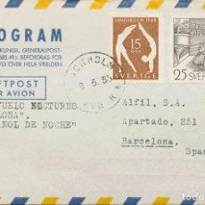 Sellos: SUECIA, AEROGRAMA. SOBRE YV 367, 351. 1953. 25 ORE NEGRO Y 15 ORE CASTAÑO. AEROGRAMA DE ESTOCOLMO A. Lote 183161325