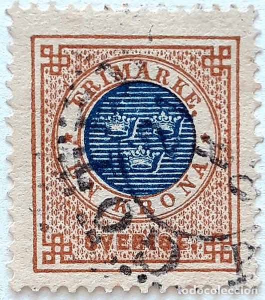 SUECIA YT : 38 1K MARRON + AZUL (1878 ) (Sellos - Extranjero - Europa - Suecia)