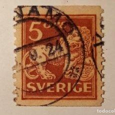 Sellos: SUECIA 1925 LEÓN EN PIE 5 ÖRE. Lote 195871785