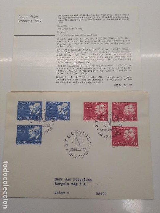 STOCKHOLM NOBELDAGEN 10-12 -1965 NOBEL 1905 LENARD BAEYER KOCH SIENKIEWICZ FISICO QUIMICO MEDICO (Sellos - Extranjero - Europa - Suecia)