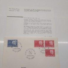 Sellos: STOCKHOLM NOBELDAGEN 10-12 -1962 NOBEL 1902 ZEEMAN LORENTZ FISCHER ROSS MOMMSE FISICO QUIMICO MEDICO. Lote 198664023
