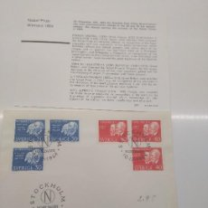 Sellos: STOCKHOLM NOBELDAGEN 10-12 -1964 NOBEL 1904 ECHEGARAY STRUTT RAMSAY PAULOV FISICA QUIMICA MEDICINA. Lote 198664310