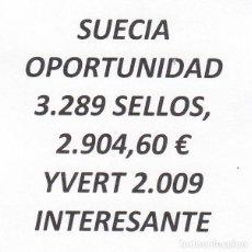 Sellos: INTERESANTE LOTE SUECIA, COMPUESTO POR 3.289 SELLOS, CON 2.904,60 € CATALOGO YVERT 2.009+. Lote 202801625
