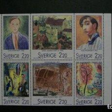 Sellos: /07.05/-SUECIA-1988-Y&T 1481/6 SERIE COMPLETA EN NUEVO SIN FIJASELLOS(**MNH)-PINTURA. Lote 203262833