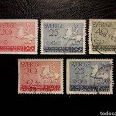 Timbres: SUECIA YVERT 406/7 + 406A/7A SERIE USADA. 1956. DEPORTES. HÍPICA. CABALLOS. PEDIDO MÍNIMO 3 €. Lote 229644485