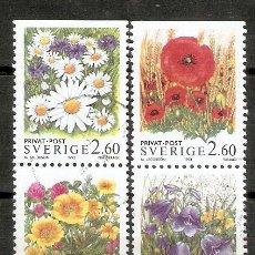 Selos: SUECIA.1993. YT 1763/1766. FLORES. Lote 231995035