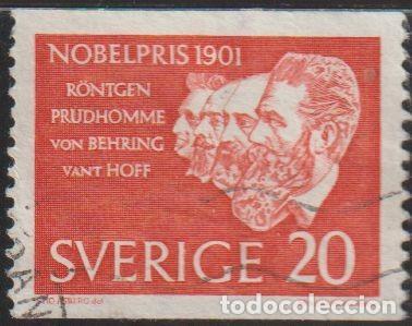 SUECIA 1961 SCOTT 603 SELLO º PREMIO NOBEL RÖNTGEN, PRUDHOMME, VON BEHRING AND VANT HOFF MICHEL 482A (Sellos - Extranjero - Europa - Suecia)