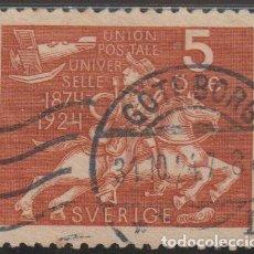 Sellos: SUECIA 1924 SCOTT 213 SELLO º UPU CONGRESO MUNDIAL POSTAL CORREO A CABALLO AVION MICHEL 159 YV. 178. Lote 243622255