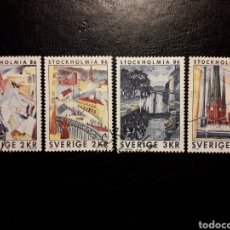 Sellos: SUECIA YVERT 1316/9 SERIE COMPLETA USADA 1985. STOKHOLMIA 86. PINTURAS. PEDIDO MÍNIMO 3 €. Lote 244758945
