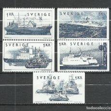 Sellos: SUECIA - 1974 - MICHEL 870/874 MNG (SIN GOMA). Lote 261564395