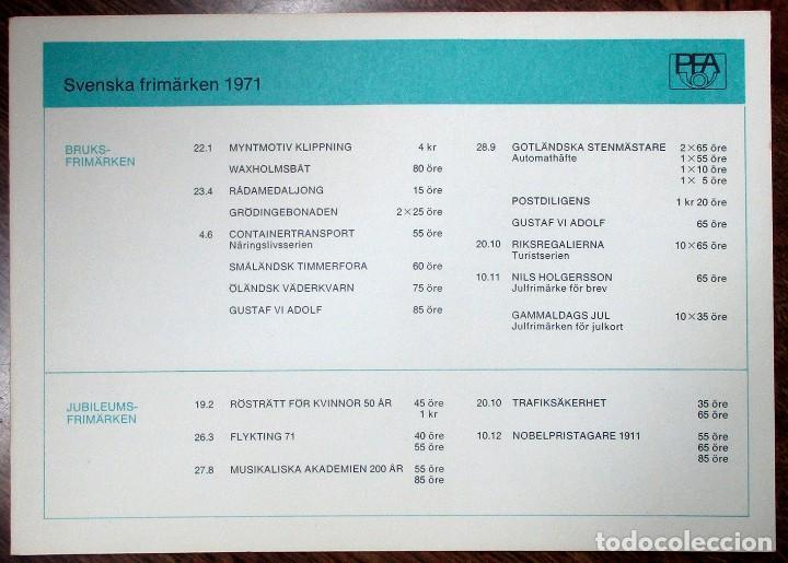 Sellos: SUECIA 1971. CARPETA DEL SERVICIO DE CORREOS SUECO CON LA COLECCION COMPLETA DE SUS SELLOS LOTE 0101 - Foto 5 - 262209060