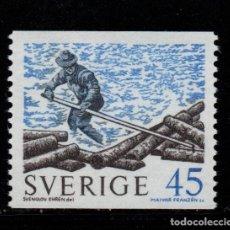 Sellos: SUECIA 651** - AÑO 1970 - ENVIO DE MADERA POR RIO. Lote 262776210