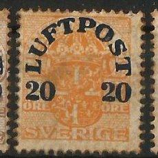 Sellos: SUECIA - 1920 - SERIE COMPLETA - LUFTPOST AIR MAIL. NUEVA. Lote 277091428