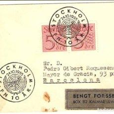 Sellos: CARTA ANTIGUA DE SUECIA. AÑO 1955. Lote 277286553