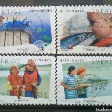 Sellos: SUECIA 2007 PESCA EN VACACIONES SERIE DE SELLOS USADOS. Lote 287400863