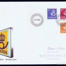 Sellos: SUECIA .1985. FDC. CORREOS Y TELÉGRAFOS. Lote 295270573