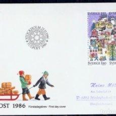 Sellos: SUECIA. 1986. FDC. NAVIDAD. Lote 295275733