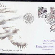 Sellos: SUECIA.1988. FDC. FAUNA.. Lote 295277898