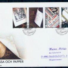Sellos: SUECIA.1990. FDC. 100 AÑOS DE ASOCIACIÓN DE FABRICANTES DE PULPA Y PAPEL. Lote 295278228