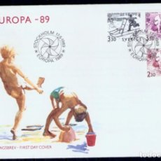 Sellos: SUECIA .1989. FDC. EUROPA 89. JUEGOS DE NIÑOS. Lote 295278438